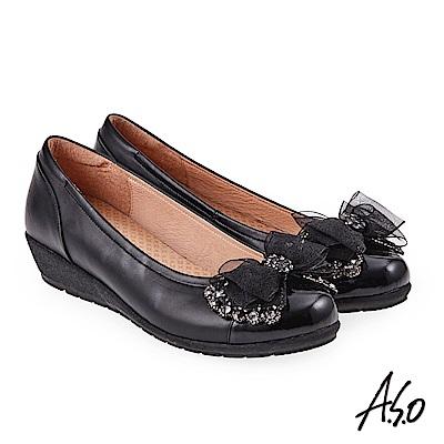 A.S.O 浪漫優雅 全真皮水鑽緞帶蝴蝶結低跟鞋 黑