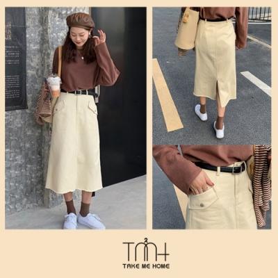 雙口袋造型半身裙-TMH