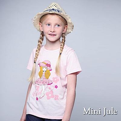 Mini Jule 童裝-上衣 粉紅帽子女孩花邊造型袖棉T(粉)