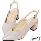 Ann'S時髦都會的女子-雙色拼接拉帶粗跟尖頭鞋-灰粉