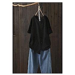 寬鬆不規則刺繡純棉T恤短袖汗衫上衣-設計所在