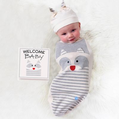 BABY joe - 穿套式實用造型包巾套組 - 豆豆眼浣熊寶寶