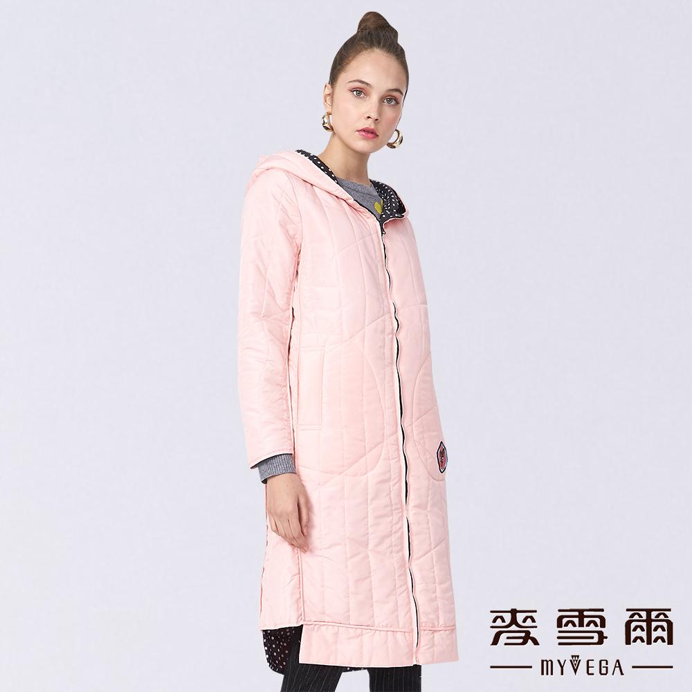 【麥雪爾】立體車線長版連帽舖棉外套