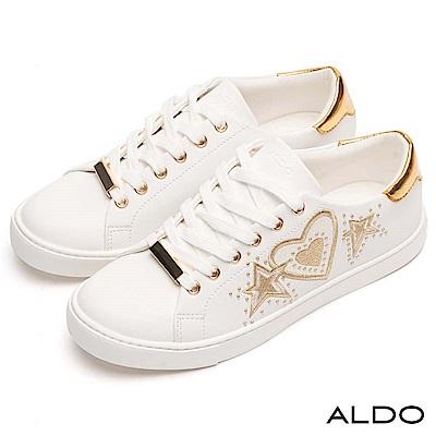 ALDO 原色美式塗鴉綴金屬鉚釘圓珠綁帶式休閒鞋~名媛金色
