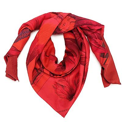 HERMES Cha Twi Surteint Brazil 真絲披肩方型大絲巾圍巾-深紅