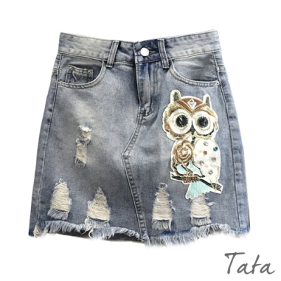 手工縫製釘珠貓頭鷹牛仔裙 TATA-(S~XL)