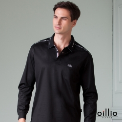 oillio歐洲貴族 男款 長袖透氣POLO衫 全棉彈力萊卡 簡約口袋 黑色