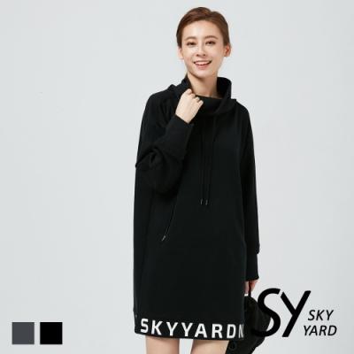 【SKY YARD 天空花園】厚磅立領綁帶棉質印花洋裝-黑色