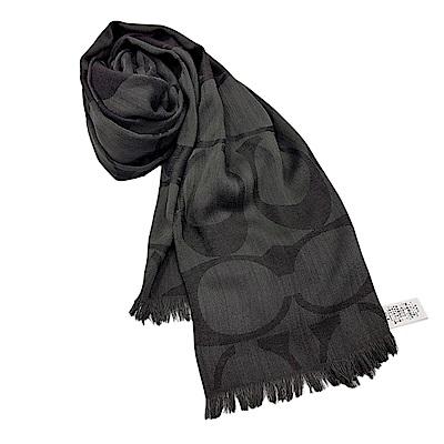 COACH 經典滿版LOGO羊毛混絲針織流蘇披肩圍巾-黑色