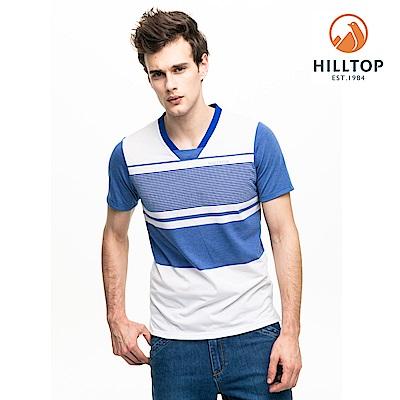 【hilltop山頂鳥】男款吸濕快乾抗菌抗UV條紋T恤S04MC9藍/白