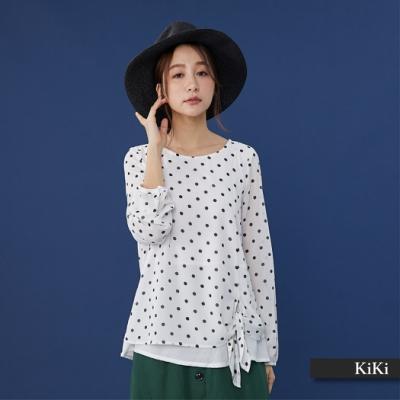 【KiKi】浪漫點點雪紡-襯衫(藍色)