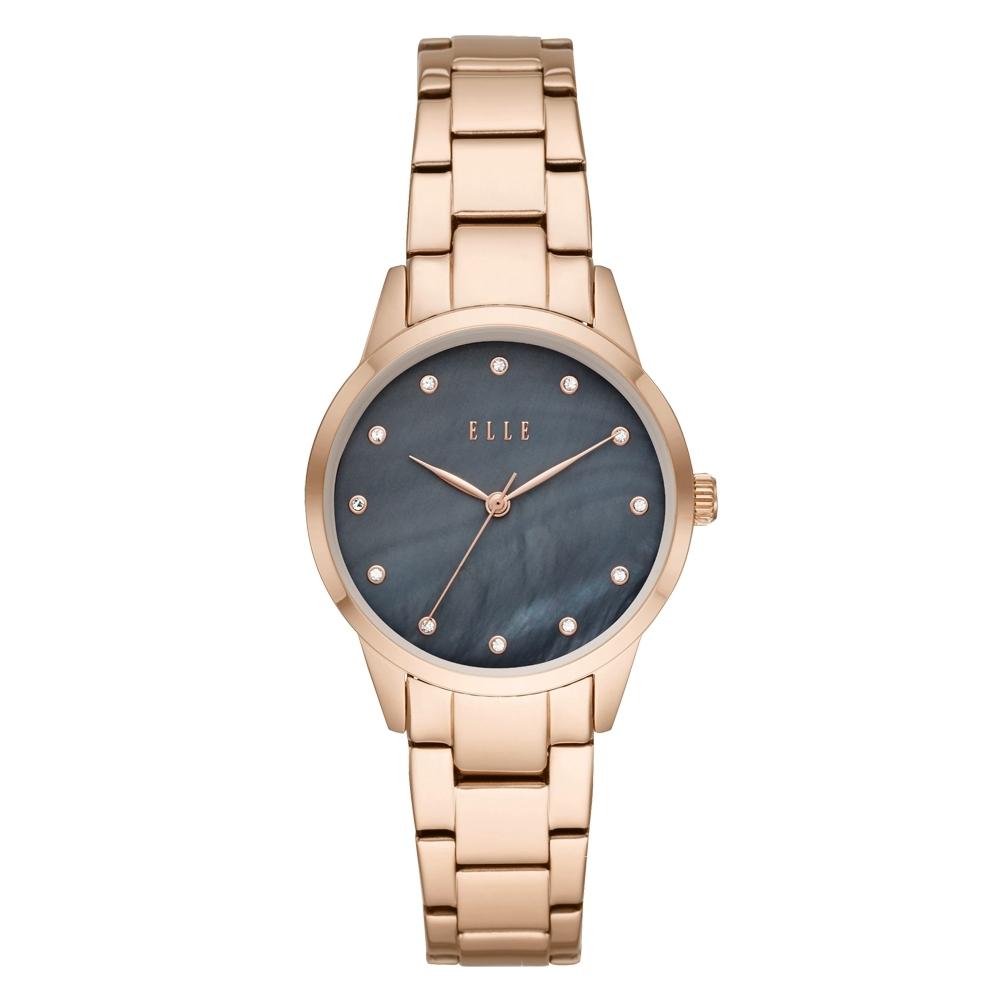 ELLE Molitor優雅時尚晶鑽貝殼面腕錶-黑X玫瑰金(ELL25004)