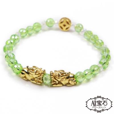 (買1送1) A1寶石 錢滾錢雙貔貅-水晶琉璃瑪瑙手鍊(五色)