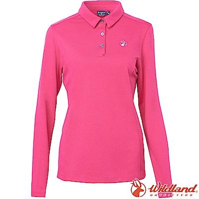 Wildland 荒野 0A62615-09桃紅色 女POLO本布領保暖衣