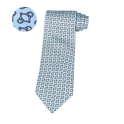 HERMES愛馬仕MORS EVER經典緹花LOGO幾何圖形設計蠶絲領帶(天空藍x灰藍)
