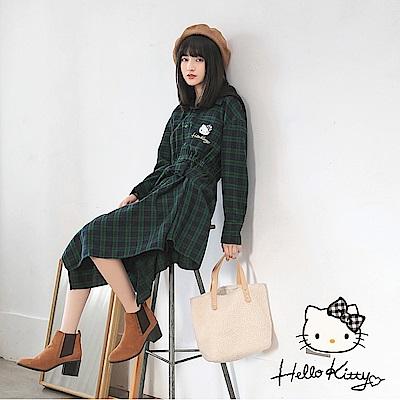冬季旅行系列~格紋KITTY刺繡腰綁帶不對稱長袖洋裝-OB嚴選