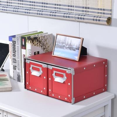 莫菲思 洋亦桌上型多功能雙抽收納盒(多色)收納箱