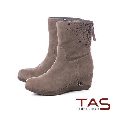 TAS星星鉚釘麂皮楔型厚底中筒靴–復古綠