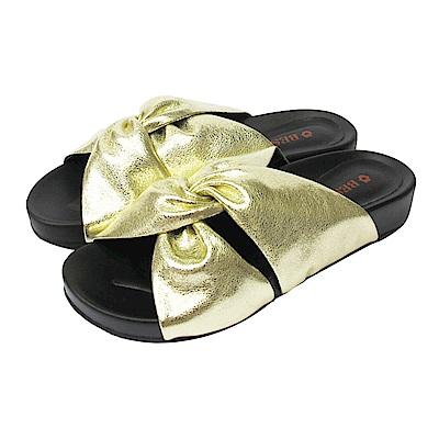 BESO  愜意舒適  蝴蝶雙扭結休閒涼拖鞋~金
