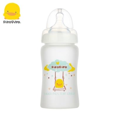 黃色小鴨《PiyoPiyo》360°矽膠防護寬口徑晶鑽玻璃奶瓶180ml