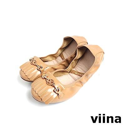 viina 優雅流蘇小金鍊摺疊鞋MIT-駝色