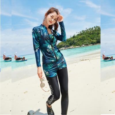 Biki比基尼妮泳衣,柳椰拉鍊長袖長褲五件式泳衣比基尼M-2XL(英字長褲五件套)