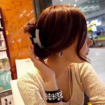 梨花HaNA 韓國奢華弧形滿鑽髮夾抓夾四排鑽