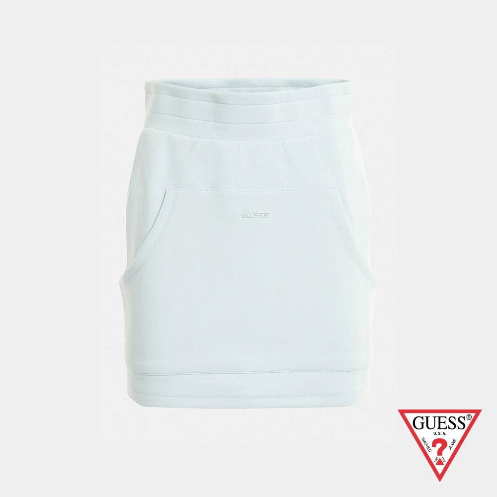 GUESS-女裝-純色口袋休閒短裙-藍 原價1790