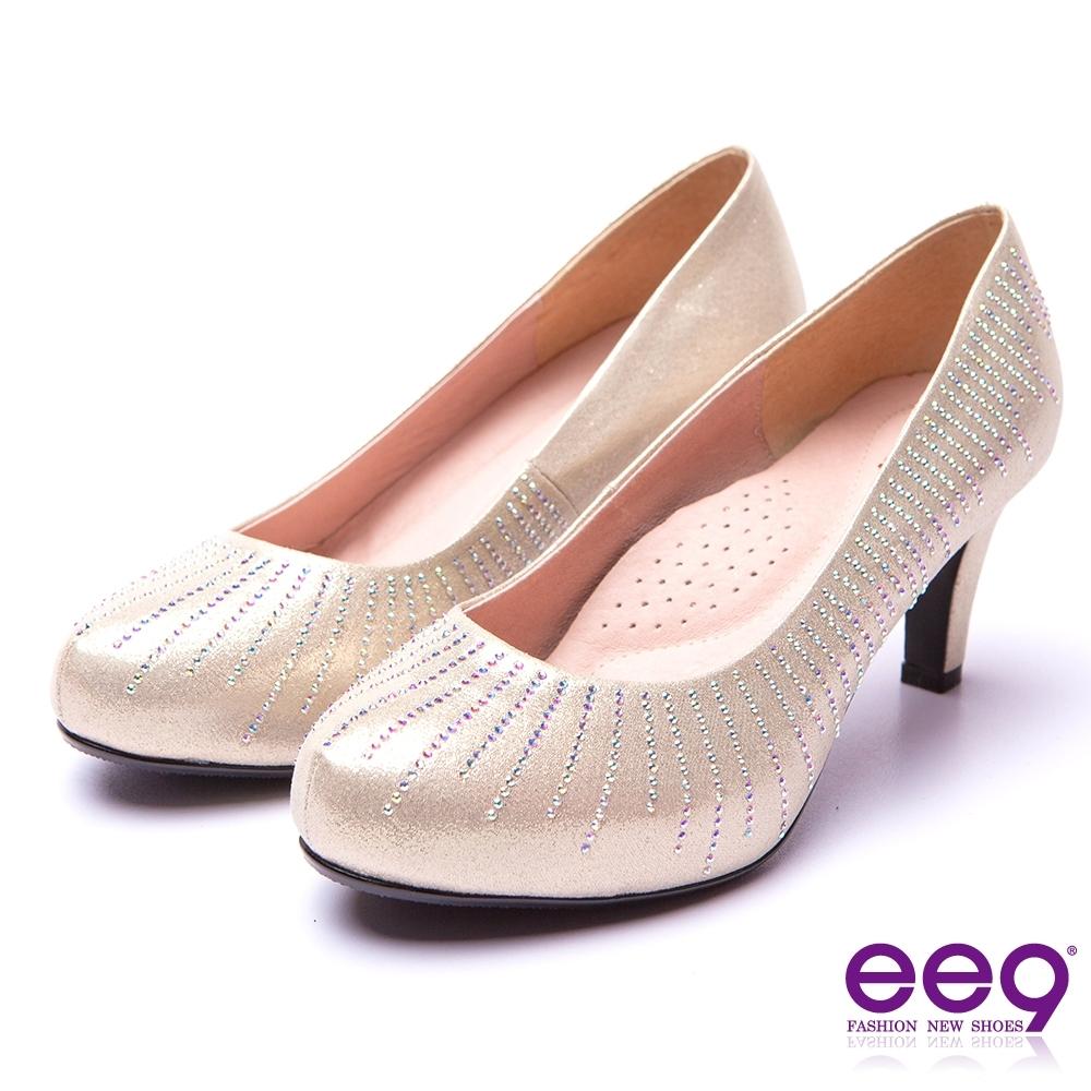 ee9 芯滿益足 璀璨迷人奢華閃耀鑲嵌亮鑽內增高跟鞋 金色