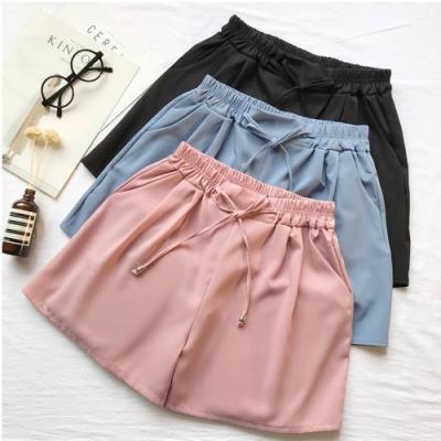 La Belleza素面側口袋滑布腰繫帶鬆緊腰彈性短褲裙