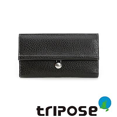 triposeYuppie系列經典LOGO鐵扣女長夾(黑咖)