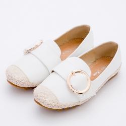 River&Moon樂福鞋 韓式金屬圓扣真皮麻編Q軟懶人便鞋 白
