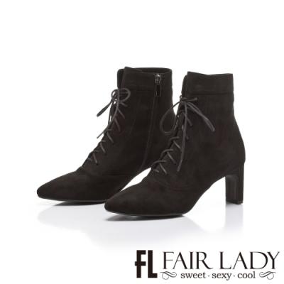 FAIR LADY輕奢華.尖頭絨布後拉鍊綁帶粗跟靴 黑
