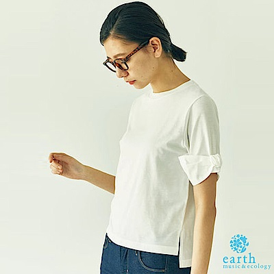 earth music  袖綁結素面上衣