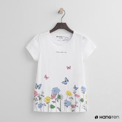 Hang Ten -童裝 - 有機棉-可愛花園圖樣短袖T - 白