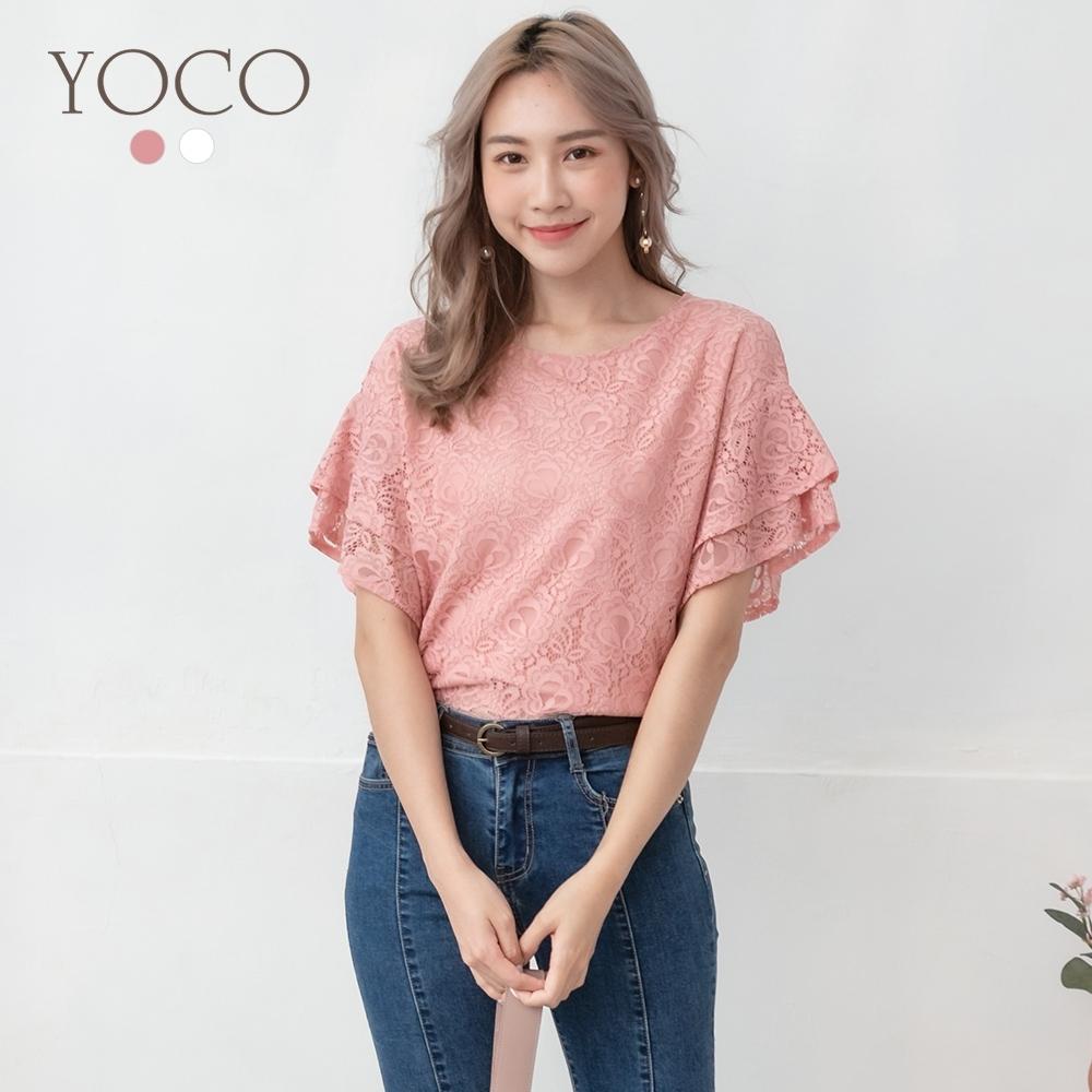 東京著衣-YOCO 細緻浪漫蕾絲雙層喇叭袖上衣-S.M.L(共兩色)
