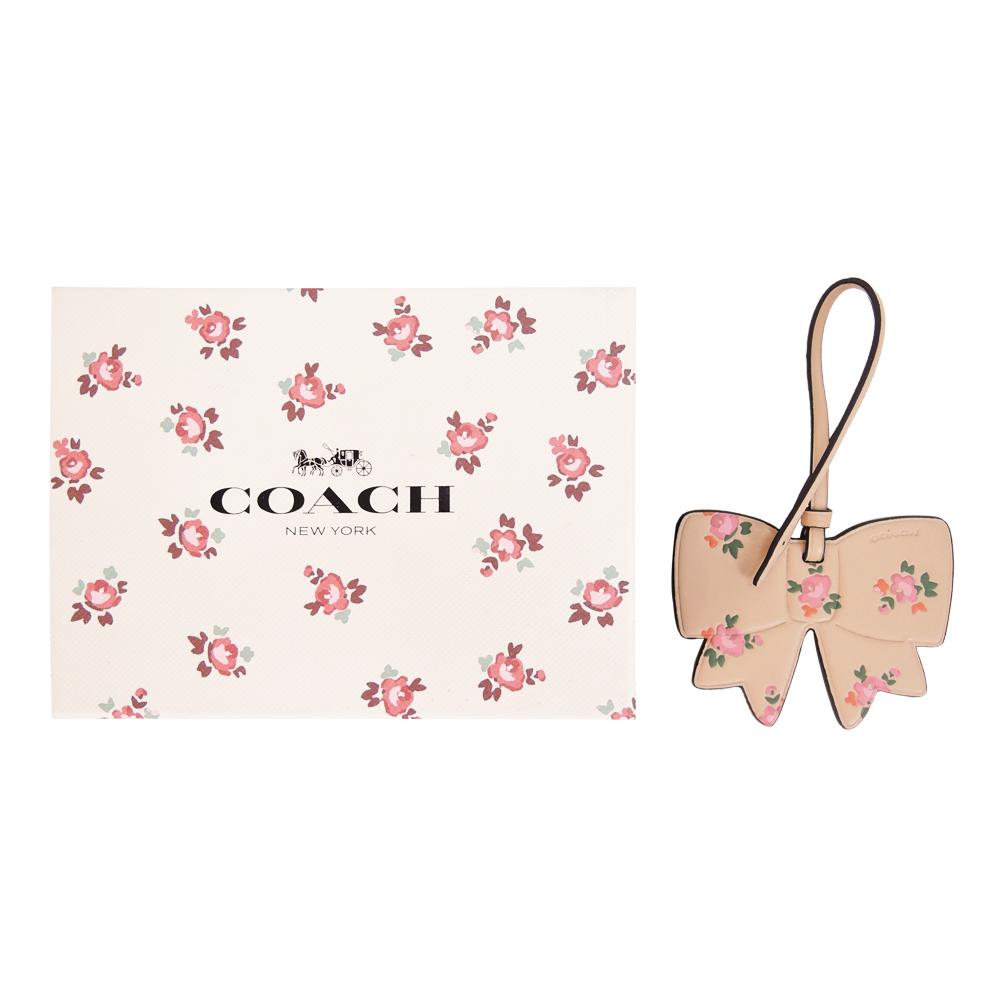 COACH 碎花蝴蝶結皮革吊飾/鑰匙圈(禮盒組)(駝)COACH