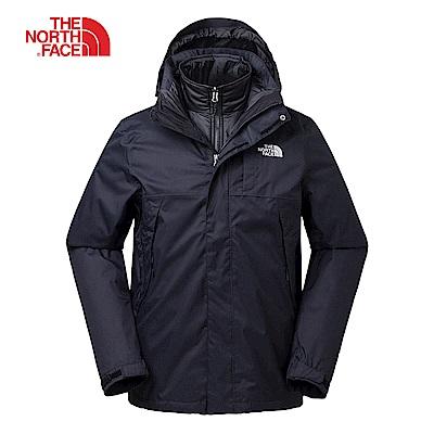 The North Face北面男款黑色保暖三合一外套|3RKAJK3