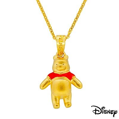 Disney迪士尼系列金飾 立體黃金墜子-樂活維尼款 送項鍊