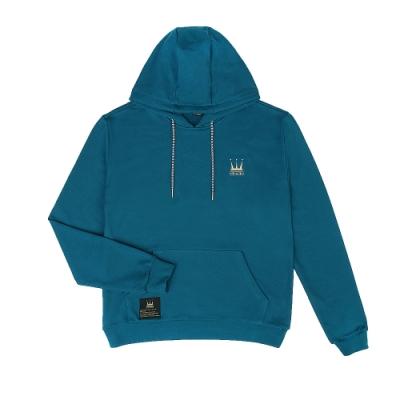【DADA SUPREME】BASIS-RETRO HOODIE 中性刺繡抽繩連帽上衣-藍綠