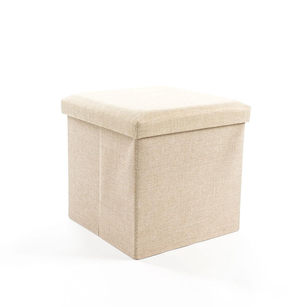樂嫚妮 棉麻折疊收納椅凳/穿鞋凳/收納箱-55L-米-38X38X38cm