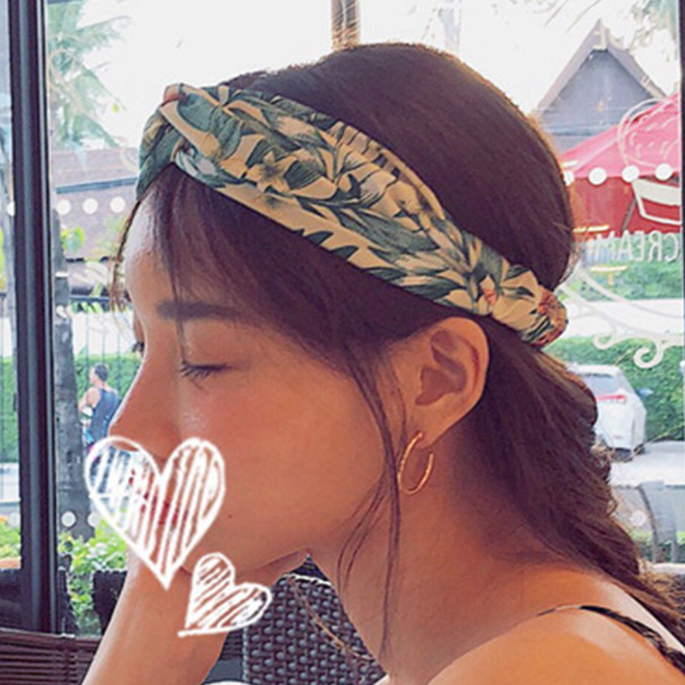 Hera 赫拉 度假風印花寬邊交叉髮帶-2色 @ Y!購物