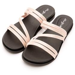 River&Moon防水鞋-簡約亮蔥線條Q軟涼拖鞋-粉