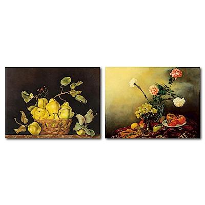 橙品油畫布-兩聯式橫幅掛畫無框畫-宴會前夕40x30cm