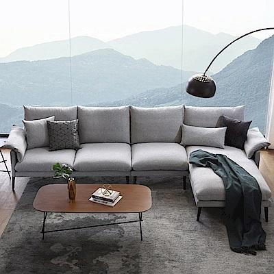 hoi! 輕奢現代可拆洗北歐L型四人布沙發(附抱枕)RAG1K-淺灰色 (H014232865)