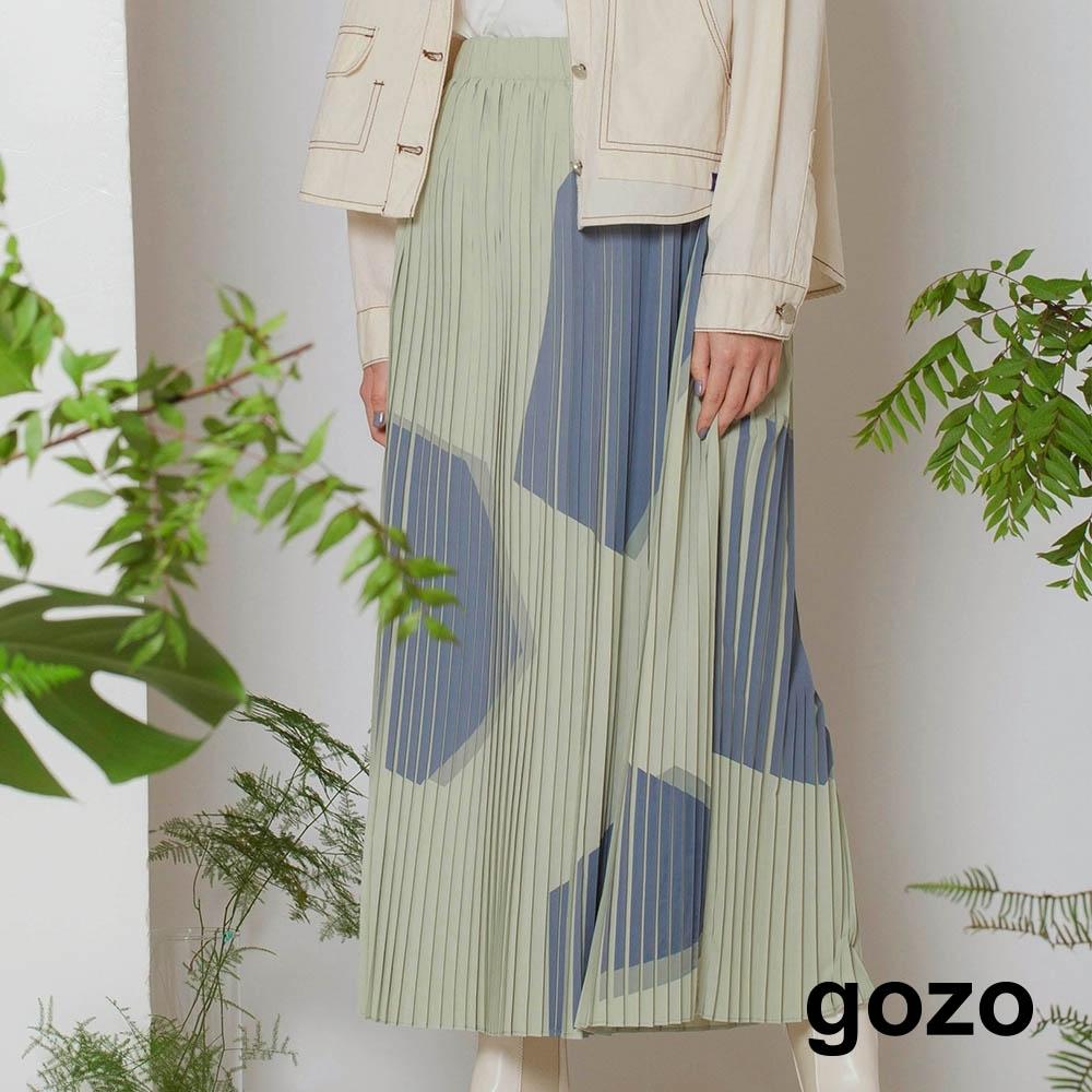 gozo-碎石幾何壓摺裙(兩色)