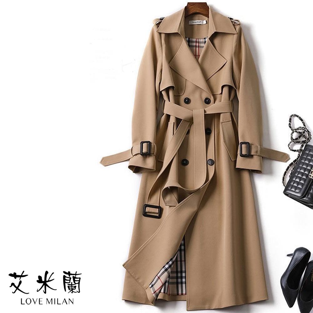 艾米蘭-韓版排扣綁帶風衣外套-4色(S-XL)