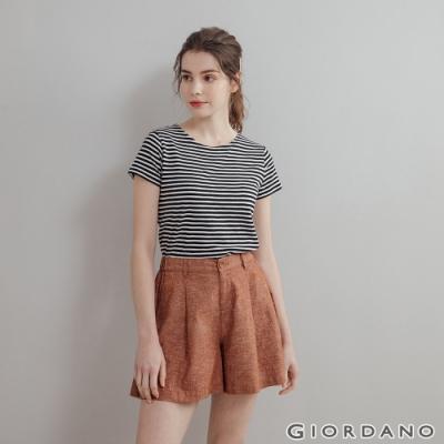 GIORDANO 女裝素色竹節棉T恤 - 95 標誌黑x皎白
