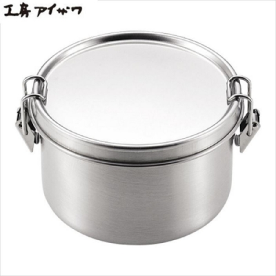 日本製 AIZAWA/相澤工房 扣環式不鏽鋼圓型保存盒 400ml