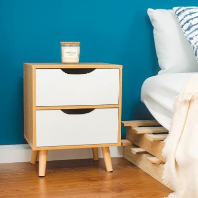 樂嫚妮 北歐二抽床頭邊櫃/收納櫃/電話櫃-松木色